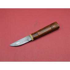 Early medieval damascus steel knife , bone