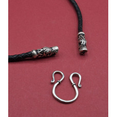 Leather cord with silvered  Dragon heads