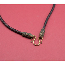 Leather cord with raven heads bronze