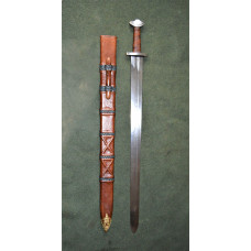 Sword with boat shaped pommel and scabbard , practical blunt SK B